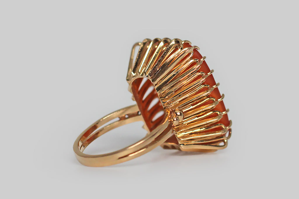 1960s x 1800s Phoenix Intaglio Seal Wirework Cocktail Ring in 18k Gold