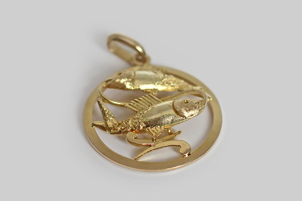 Large 1970s Modernist Pisces Charm with Textures in 14k Gold