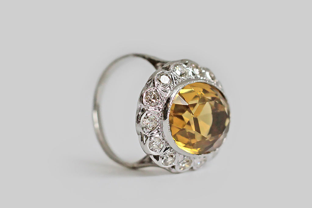 Vintage 1940s Citrine & Diamond Halo Ring in Platinum