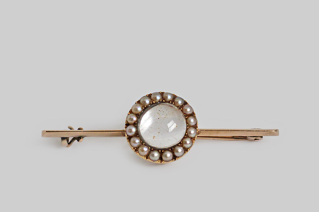 Victorian Pearl & Quartz Memorial Brooch for Sweet Alister in 14k Gold