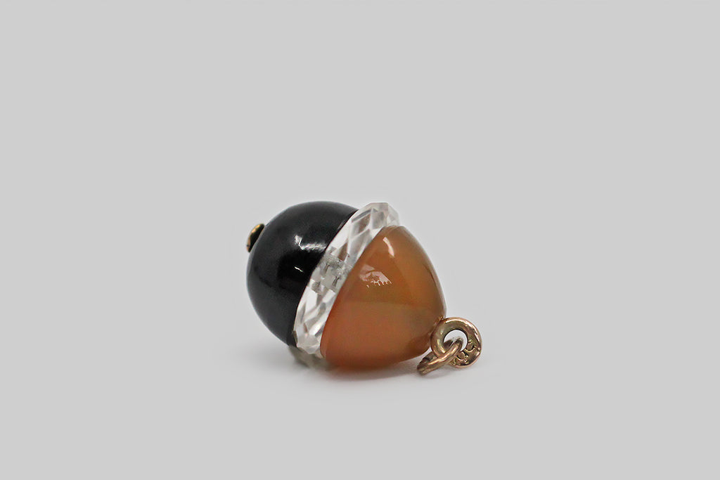 Antique Russian Miniature Egg Pendant - Agate, Black Chalcedony & Rock Crystal