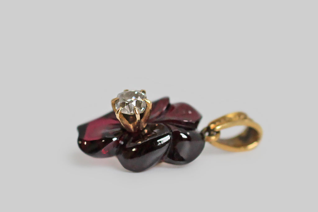 Carved Garnet & Old Mine Cut Diamond Pansy Pendant in 14k Gold