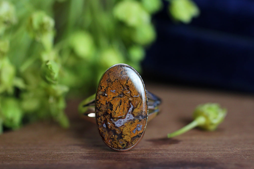 Victorian Rust Plume Agate Ring in 14k Gold