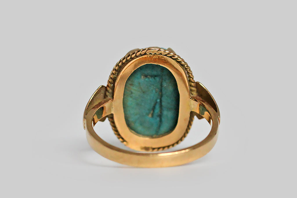 Antique Egyptian Revival Faience Scarab Ring with Festoon Bezel in 18k Gold