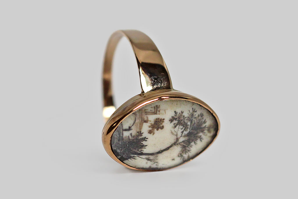 Georgian Era Memorial Ring with Miniature Sepia Painting in 9k Gold