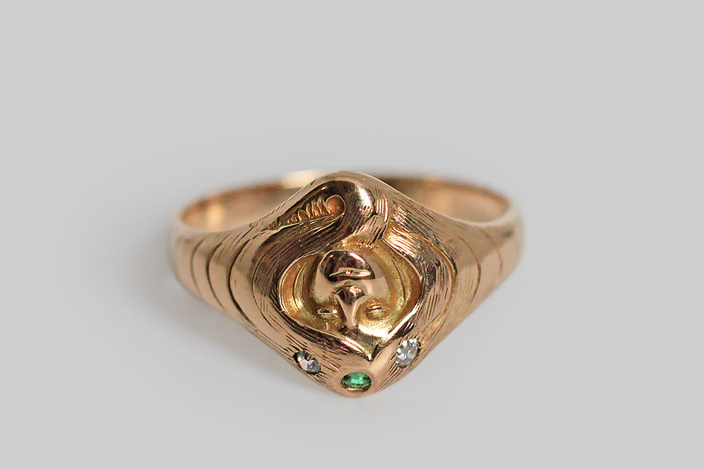 Art Nouveau Crowned Gypsy Ring with Diamond & Emerald in 14k Gold