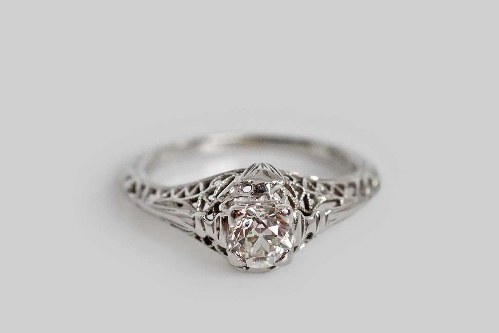 Art Deco Old Mine Cut Diamond Filigree Engagement Ring in 18k Gold