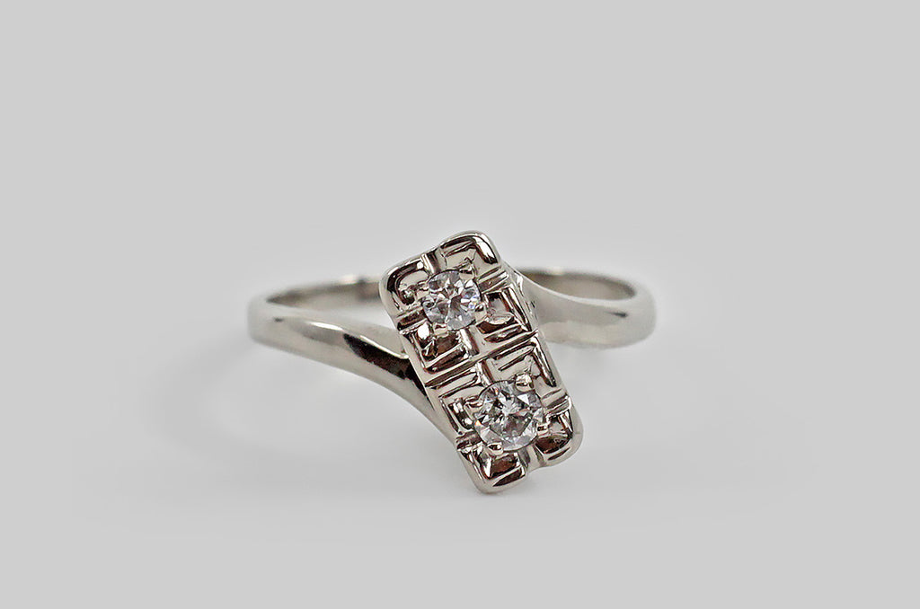 Quizzical Art Deco Toi Et Moi Diamond Engagement Ring in 14k Gold