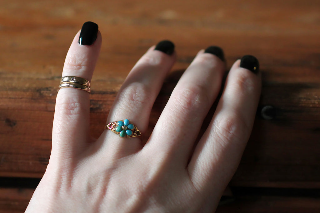Early Victorian Turquoise & Diamond Sweetheart Ring in 15k Gold