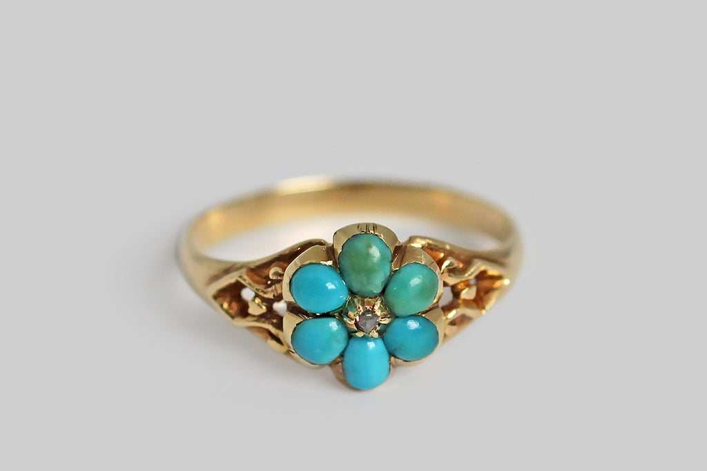 Turquoise & Diamond Victorian Sweetheart Ring in 15k Gold