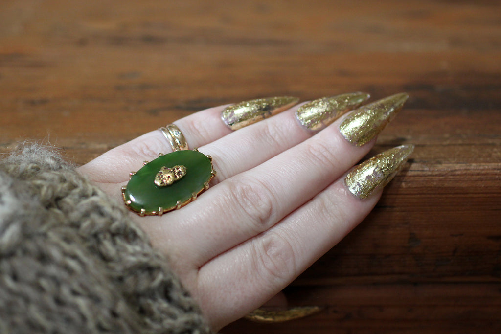 Vintage Large Nephrite Jade & Gold Nugget Ring in 10k Gold