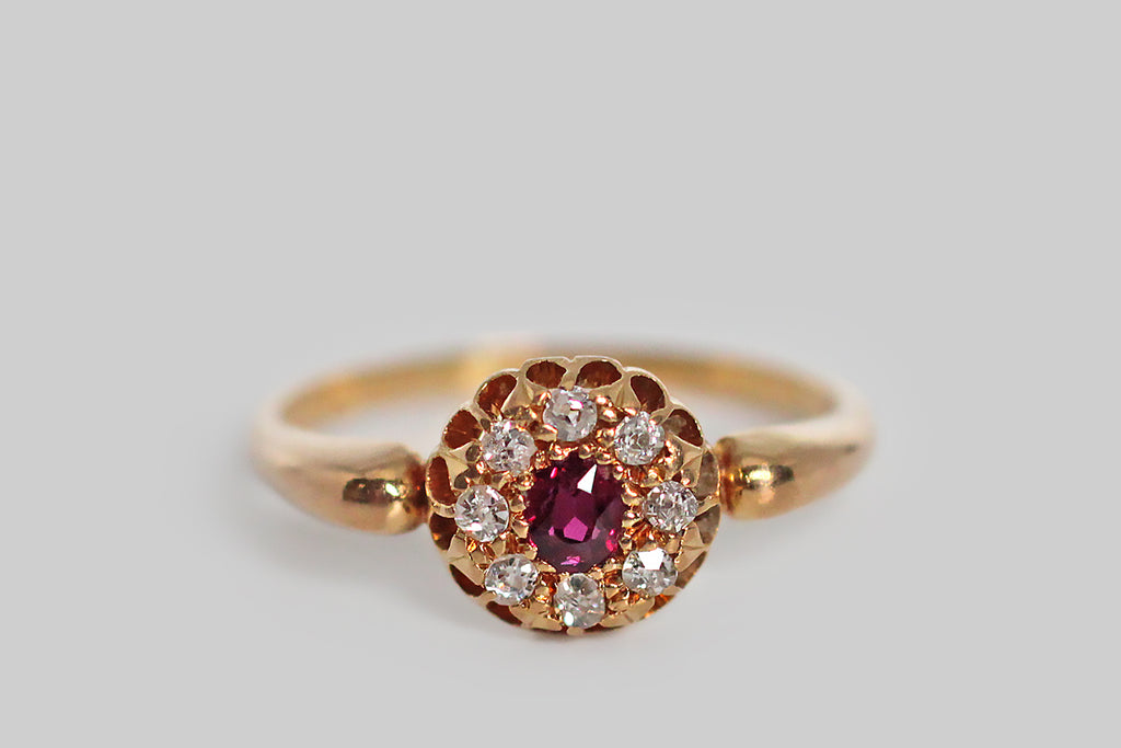 Late Victorian Ruby & OMC Diamond Halo Ring in 18k Gold