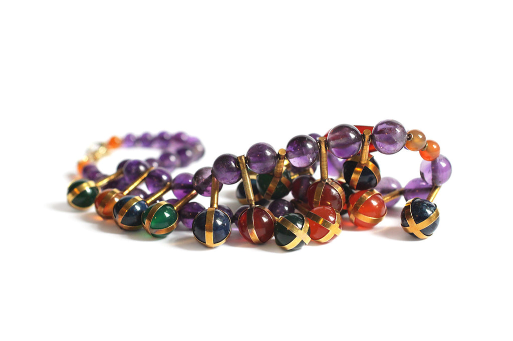 Victorian Amethyst, Carnelian, Lapis & Chrysoprase Egyptian Revival Fringe Necklace in 18k Gold