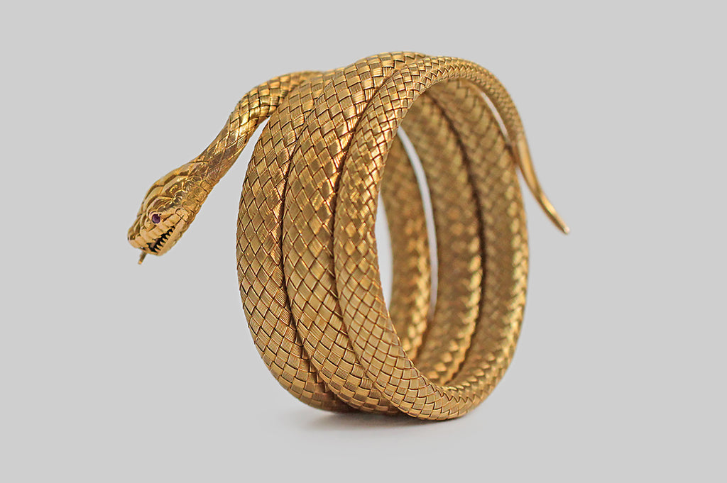 Victorian Era Woven Snake Bracelet in 18k Gold with Ruby Eyes