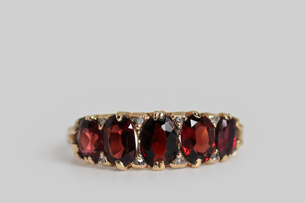 Late Victorian Five Stone Almandine Garnet & Rose Cut Diamond Ring in 18k Gold