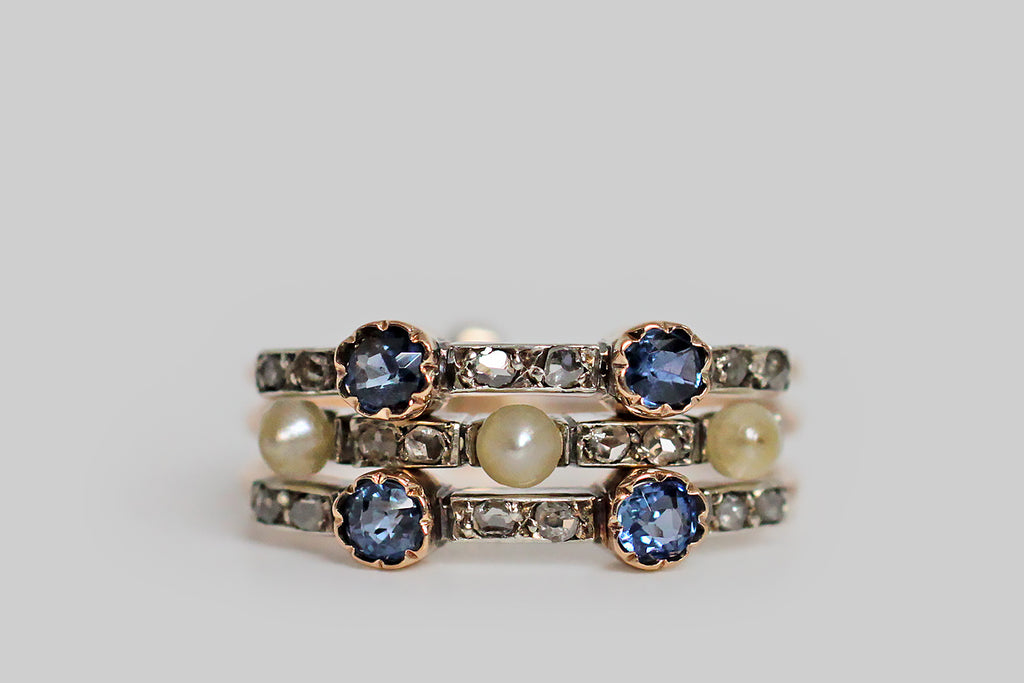 Victorian Era Harem Ring with Sapphires, Diamonds, & Pearls in 15k Gold & Silver