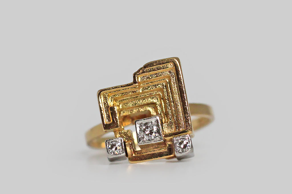 Björn Weckström Modernist Sun Temple Ring with Diamonds in 18k Gold