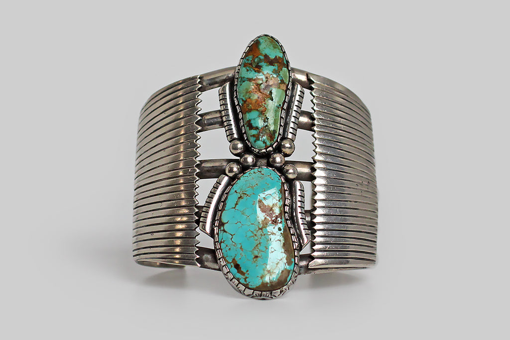 Monumental Wilson Padilla Filework Turquoise Cuff in Sterling Silver