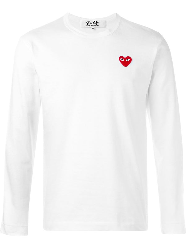 Long Sleeve Tee Red Heart - White