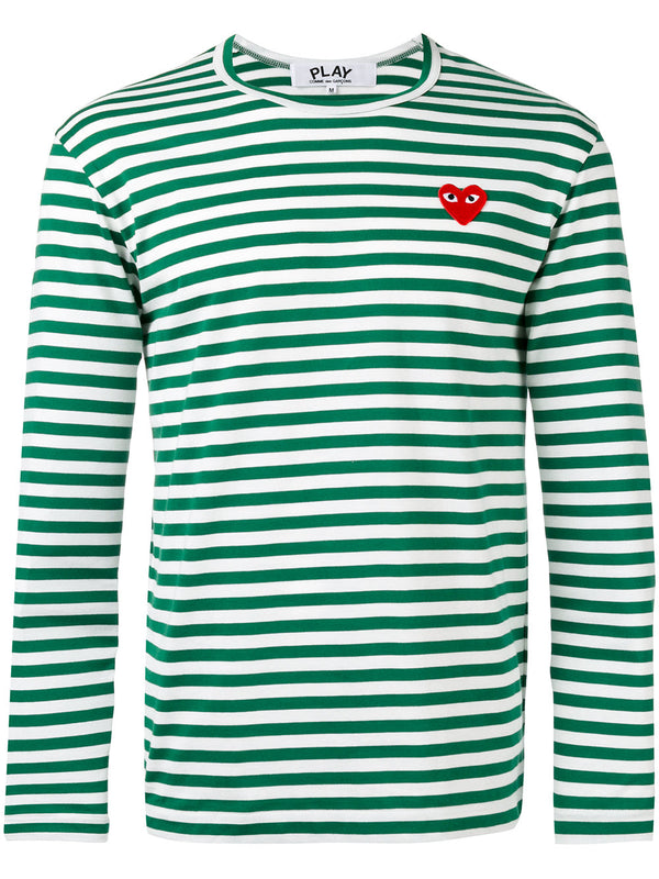 Striped Tee Red Heart - Green