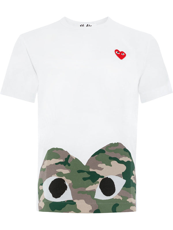 Short Sleeve Tee Graphic Camouflage Heart Bottom - White