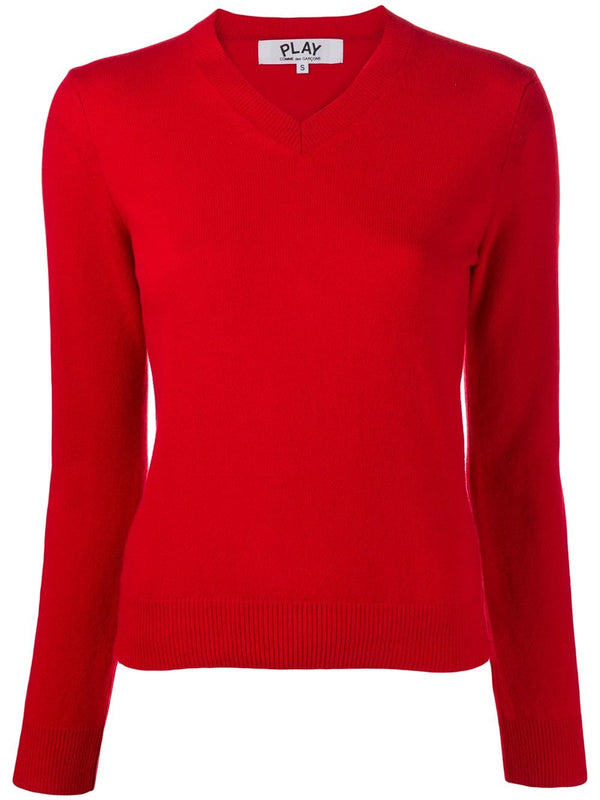 V-Neck Pullover Sleeve Red Heart - Red