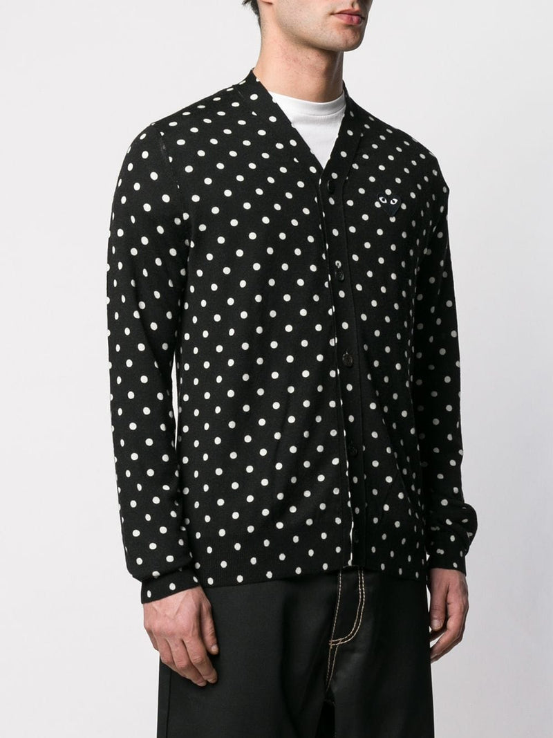 Cardigan Polka Dot Black Heart - Black
