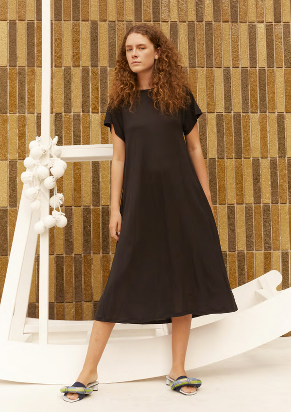 RISING JERSEY DRESS - BLACK