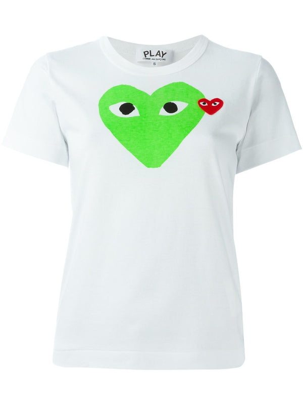 Short Sleeve Tee Graphic Green Heart - White