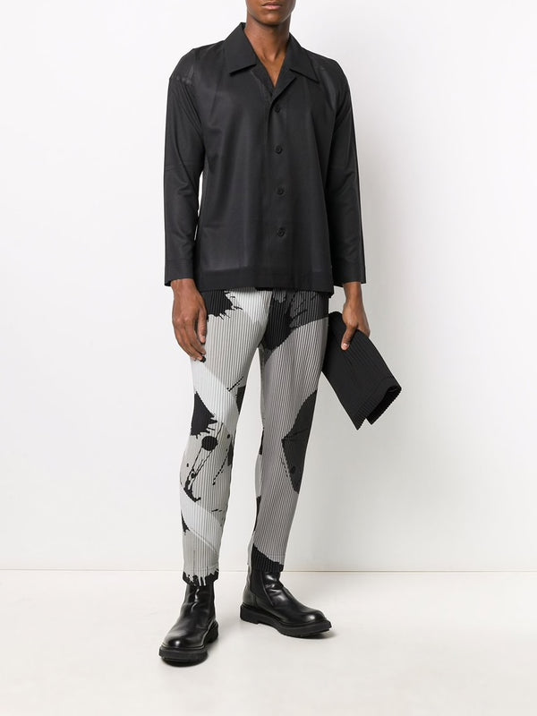 Pattern Pleated Trousers - Grey Circle