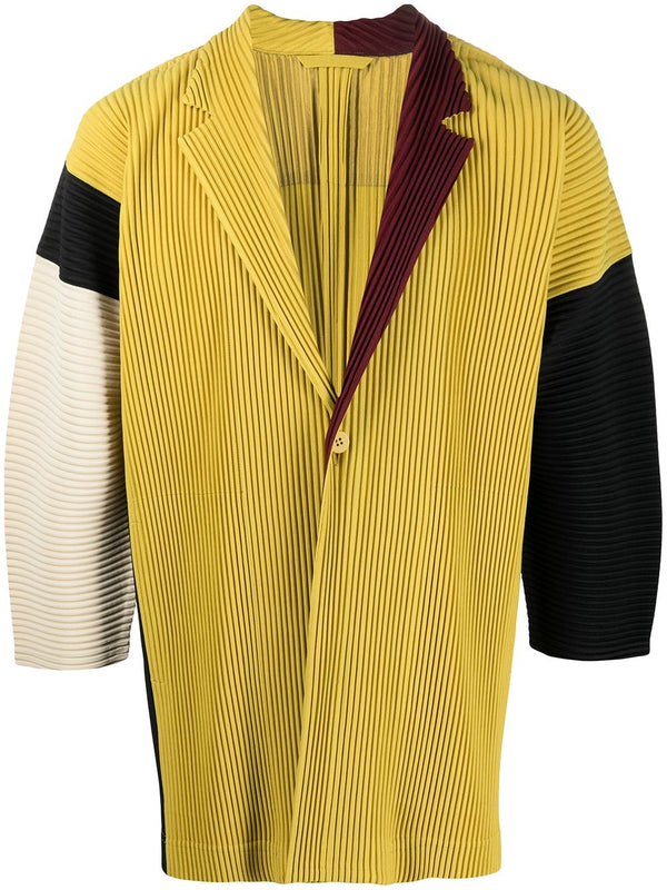 Colour-block Pleated Jacket - Yellow