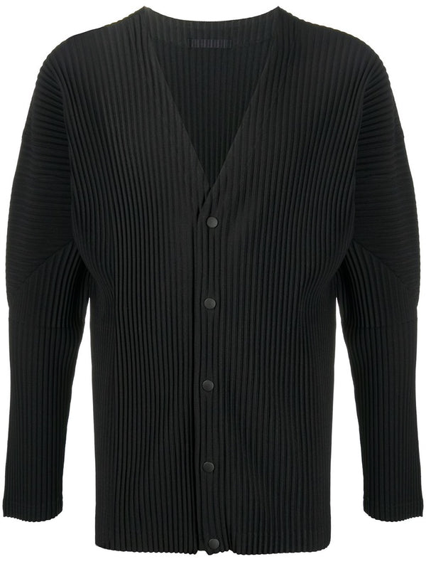 Pleated Buttoned Cardigan - Black