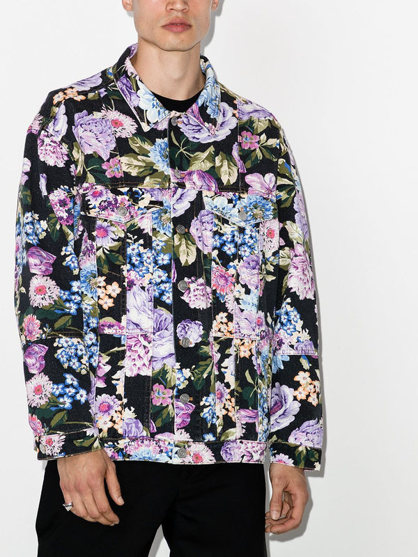 Oversized Denim Jacket - Floral Print