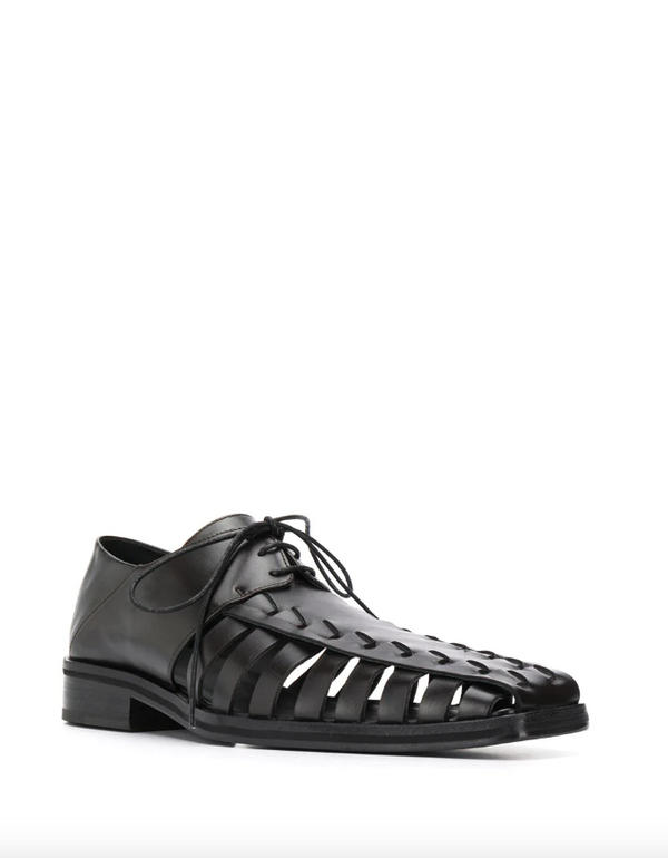 Long gladiator style leather oxford shoes