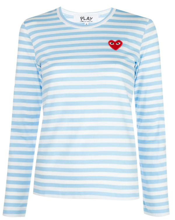 Striped Tee Red Heart - Sky Blue