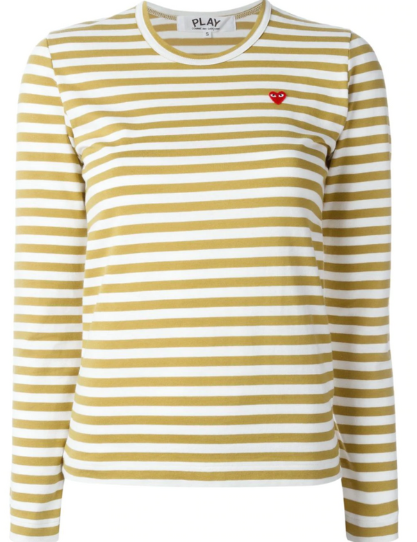 Striped Tee Small Red Heart - Olive