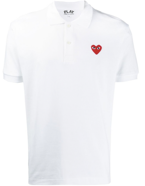 Polo Shirt Red Heart - White