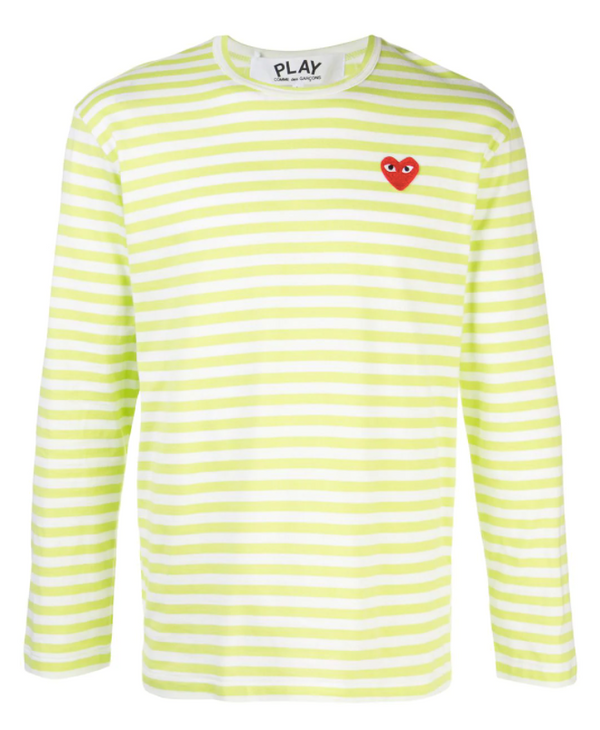 Striped Tee Red Heart - Light Green