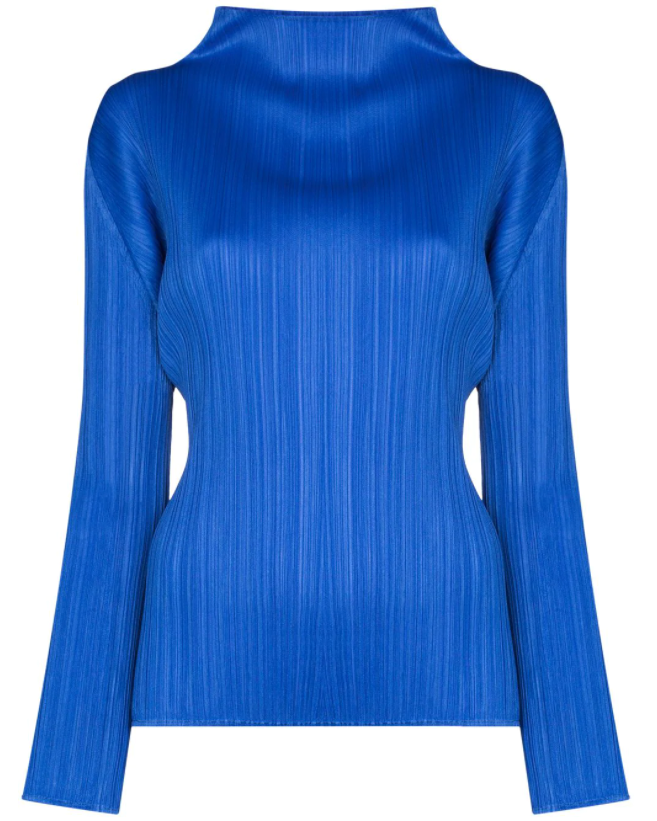 High Neck Top - Blue
