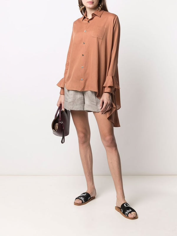 Asymmetric button-up shirt In Brown