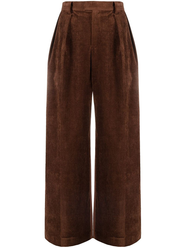 Corduroy Panel Pants - Brown
