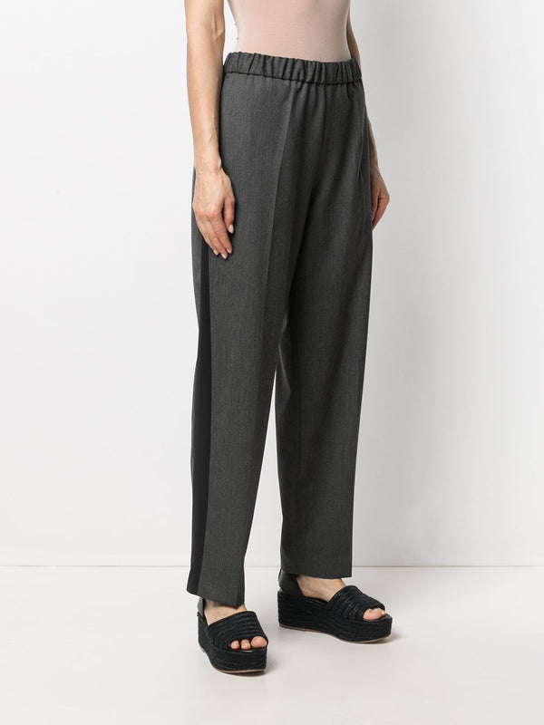 High Waisted Wool Trim Pants - Charcoal