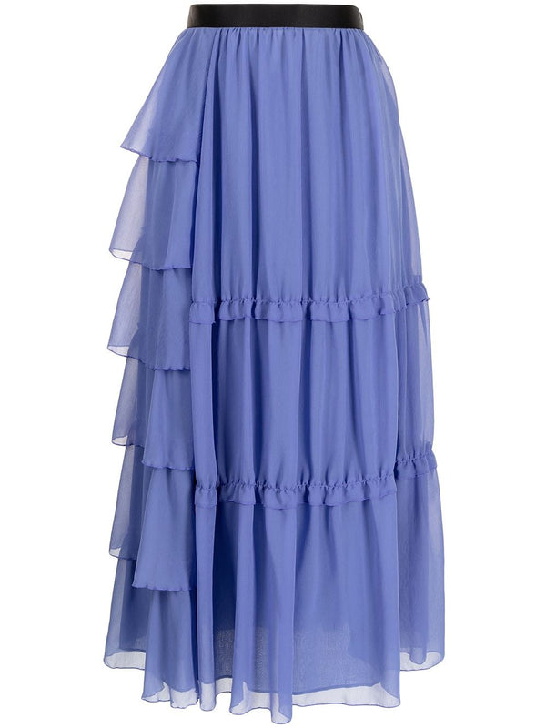 High Waisted Tiered Skirt - Light Blue