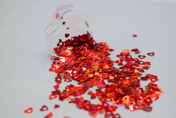Red Hearts Chunky Glitter Mix