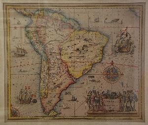 Reproduction of a map of South America from 1629.
