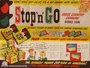 Stop-n-Go Cross Country Caravan Bubble Gum Advertising Piece from Topps Chewing Gum.