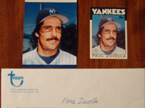 1986 Topps Traded Original Artwork of Paul Zuvella of the New York Yankees.