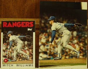 1986 Topps Traded Original Artwork of Mitch William of the Texas Rangers.