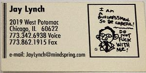 Jay Lynch's old business card