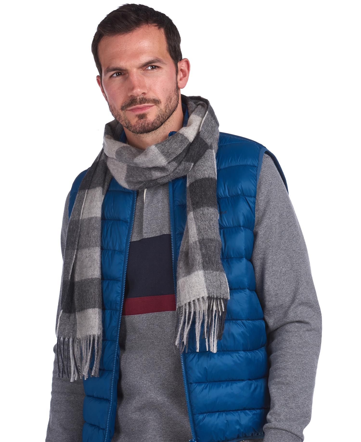 Barbour Lambswool Grey Check Scarf